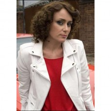 Keeley Hawes Ashes To Ashes White Leather Biker Jacket